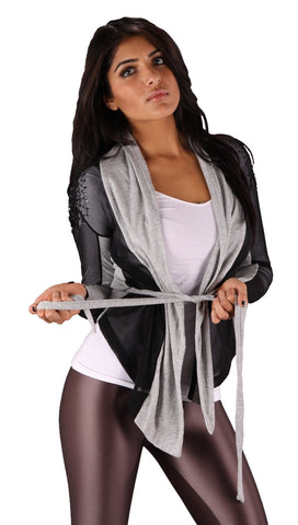 Religion Sequin Bead Black Mesh Wrap with Tie Grey Fabric Contrast Fashion Cardigan
