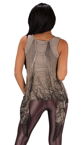 Religion Tree Top Taupe Cami Stretch Tank Silver Necklace Chain Sheer Chiffon Wing Vest