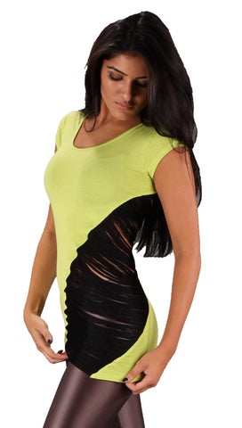 Religion Diagonal Black Tassel String Short Sleeve Cut Out Top Lime Green