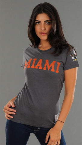 Retro Sport University of Miami Washed Crew Tee in Grey