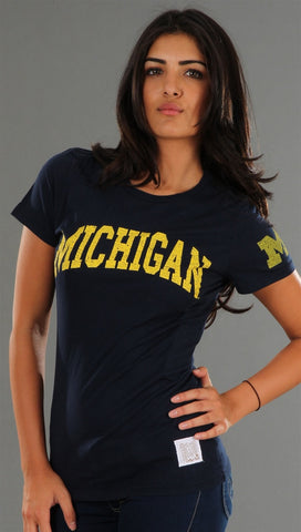 Retro Sport University of Michigan Washed Crew Tee in Navy