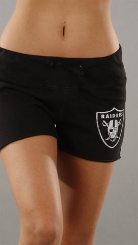 Retro Sport Oakland Raiders Fleece Shorts in Black