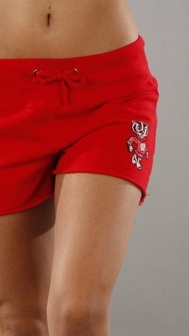 Retro Sport Wisconsin Fleece Shorts in Red