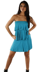 Revolver Lori Tube Layer Ruffle Strapless Dress in Turqouise