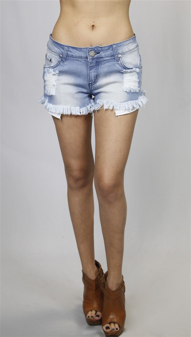 Reverse Distressed Bleached Denim Shorts