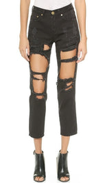 Reverse Women's Destroyed Boyfriend Jeans Black