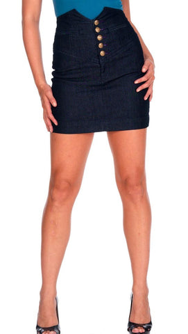 Rich & Skinny High Waisted Denim Skirt Blue