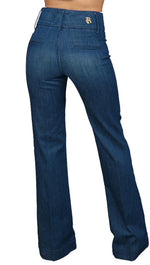 Rich & Skinny Ritzy High Waist Wide Leg Jean Pants Dark Denim