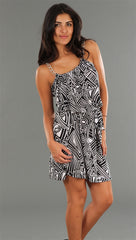R Jean Chain Link Belted Tunic Dress in Geo