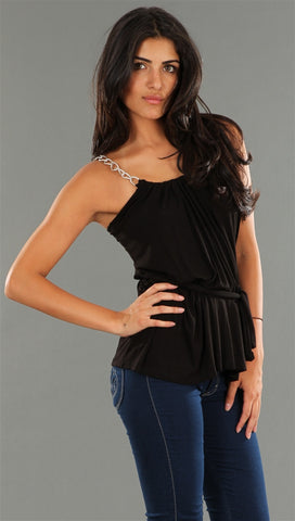 R Jean Chain Link Belted Tank in Black