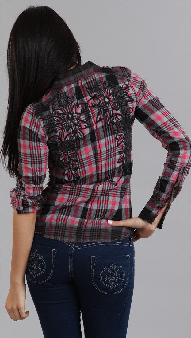 Roar Brandy Button-down in Red