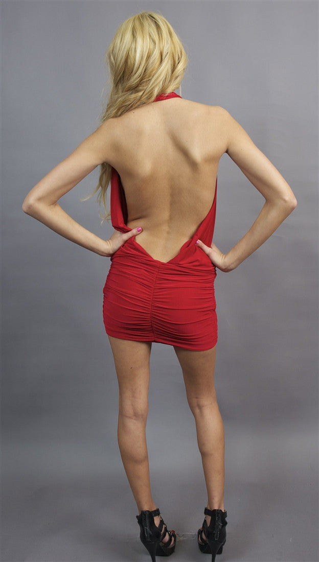 Rockstar Runway Open Back Halter Dress in Red