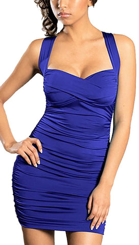 Rockstar Runway Sweetheart Mini Dress in Blue