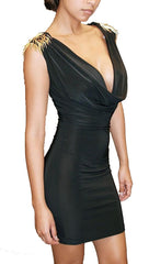 Rockstar Runway Spike Shoulder Plunge Dress in Black