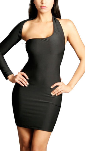 Black One Shoulder Sexy Mini Dress Black