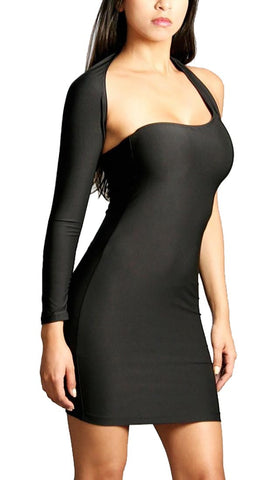 Rockstar Runway Black One Shoulder Sexy Mini Dress Black