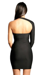 Sabora Black One Shoulder Sexy Mini Dress Black