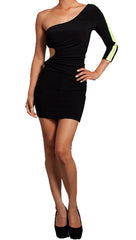 Rockstar Runway Side Cut Out One Sleeve Neon Green Zipper Mini