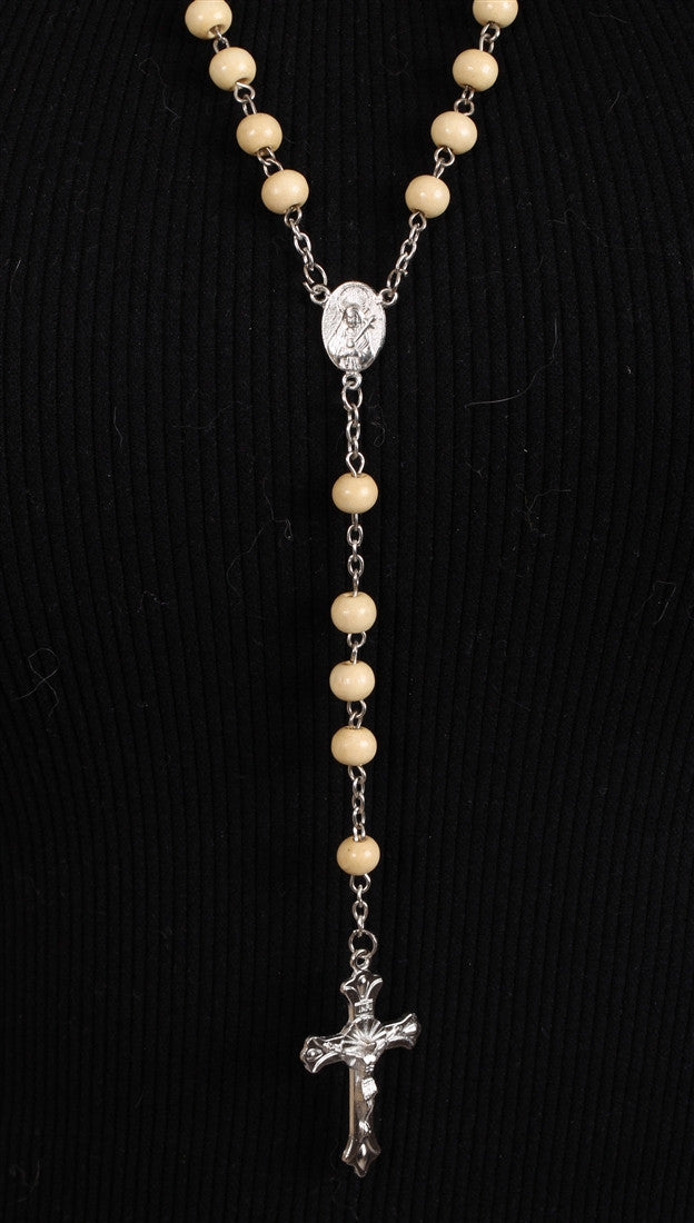 Classic Tan Wood Bead Rosary w/ Silver Cross