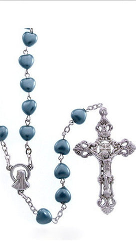 Blue Heart Mother of Pearl Bead Silver Rosary Necklace