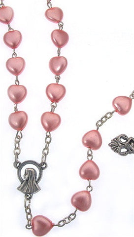 Pink Mother of Pearl Heart Bead Silver Rosary Necklace