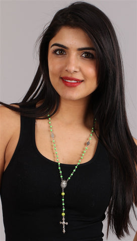 The Rhinestone Neon Green Bead Rosary Necklace Silver Cross