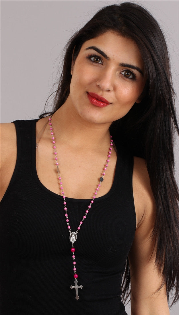 The Rhinestone Pink Fuchsia Bead Rosary Necklace Silver Cross