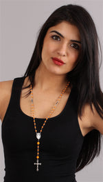 The Rhinestone Neon Orange Pearl Bead Rosary Necklace Silver Cross