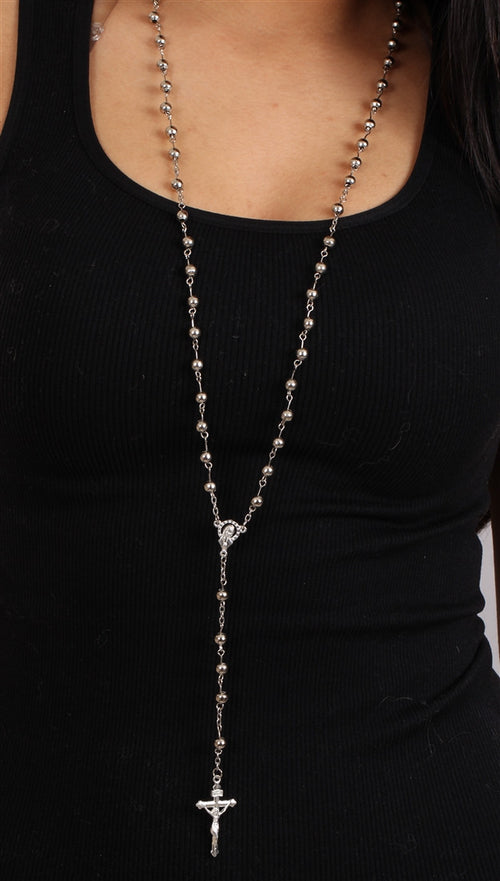 The Classic Rosary in Silver