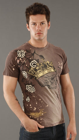 Rebel Spirit Crown Skull Tee in Brown
