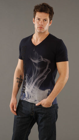 Salvage Warped V-neck Tee in Navy