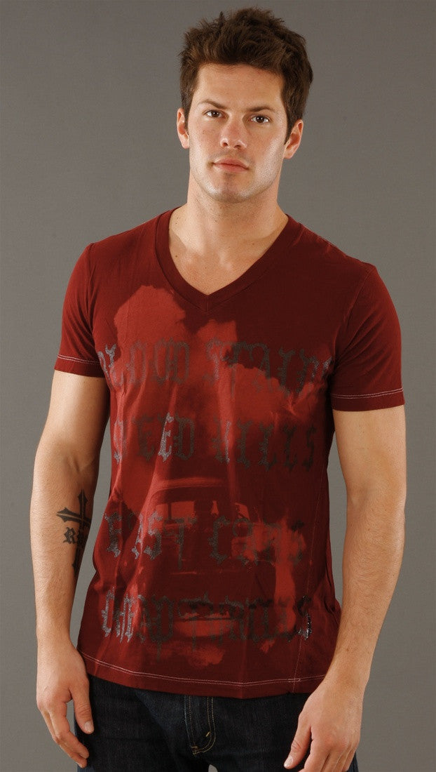 Salvage Cheap Thrills V-neck Tee in Red