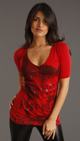 Salvage Speed Kills Short Sleeve Top in Red
