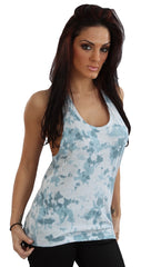 Sauce Slashed Racerback Muscle Tank Top in Ocean Tie Dye