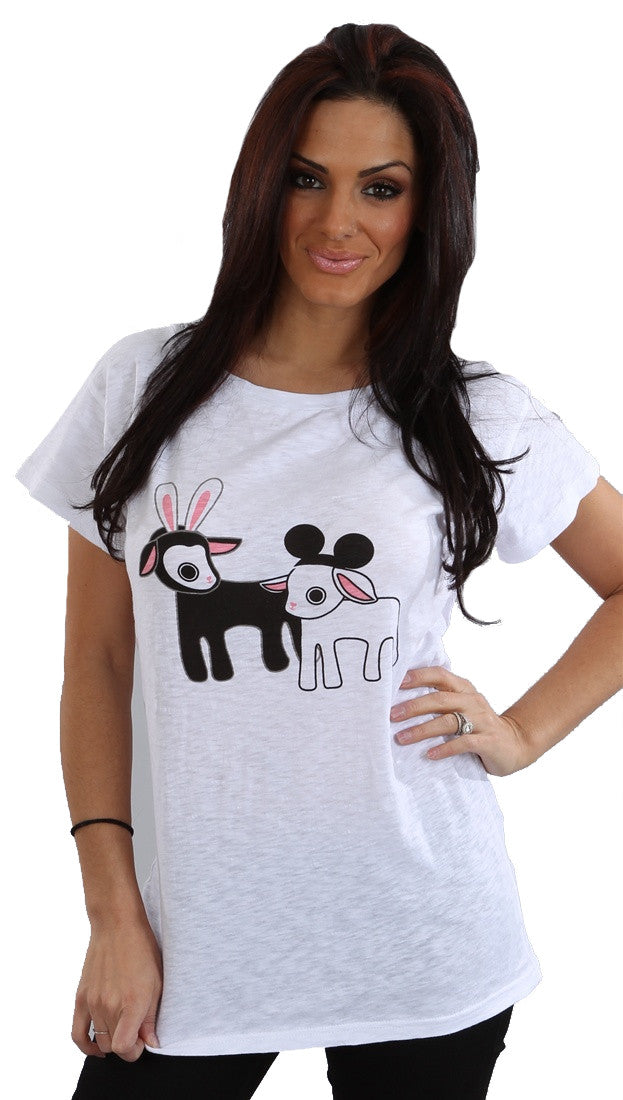 Sauce Lambs Black Sheep White Sheep Tunic Shirt White