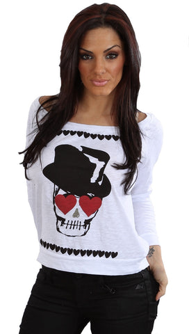Sauce Heart Eyes Black Top Had Skull Head Long Sleeve Shirt White