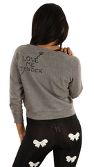 Sauce Love Me Tender Arrow Crop 3/4 Sleeve Sweatshirt in Gray