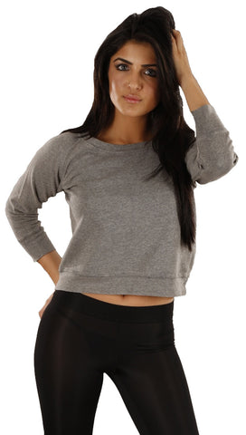 Sauce Love Me Tender Crop Sweatshirt in Gray