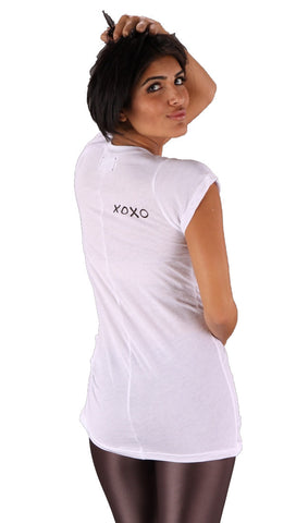 Sauce XOXO Perfectly Pinched Plain White Tee Shirt White