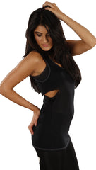 Sauce Cutout Tunic Tank Dress in Black