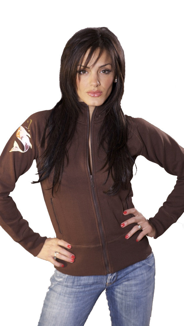 Kissy Kiss Zip Up Track Jacket Sweatshirt in Brown
