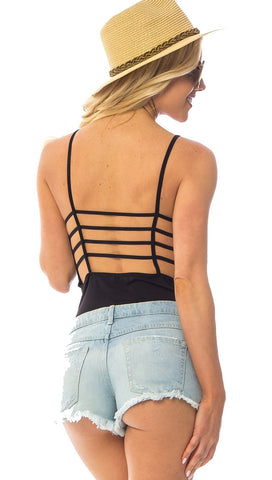 Stacey Open Back Caged Cut Out Sleeveless Cage Bodysuit Black ShopAA