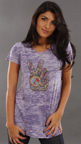 Signorelli Hand Burnout Tee in Purple