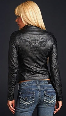 Sinful Dagger Faux Leather Motorcycle Crop Jacket in Black