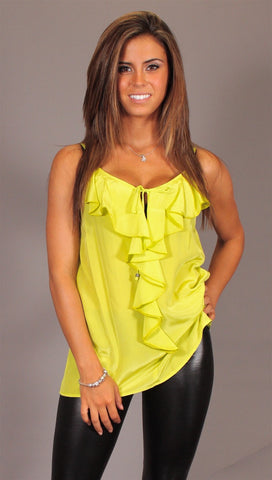 Single Dress Strappy Ruffle Silk Cami in Lime