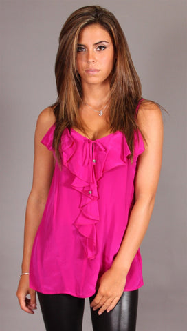 Single Dress Strappy Ruffle Silk Cami in Magenta