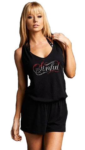 Sinful Cedar Romper Swim Rhinestone Angel Wings Coverup in Black Red