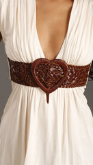 Sky Erez Heart Belt in Bone