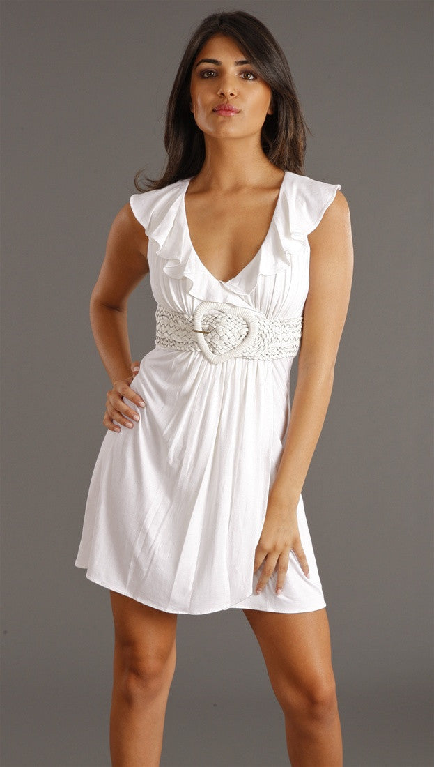 Sky Rizzo Heart Belt Dress in white