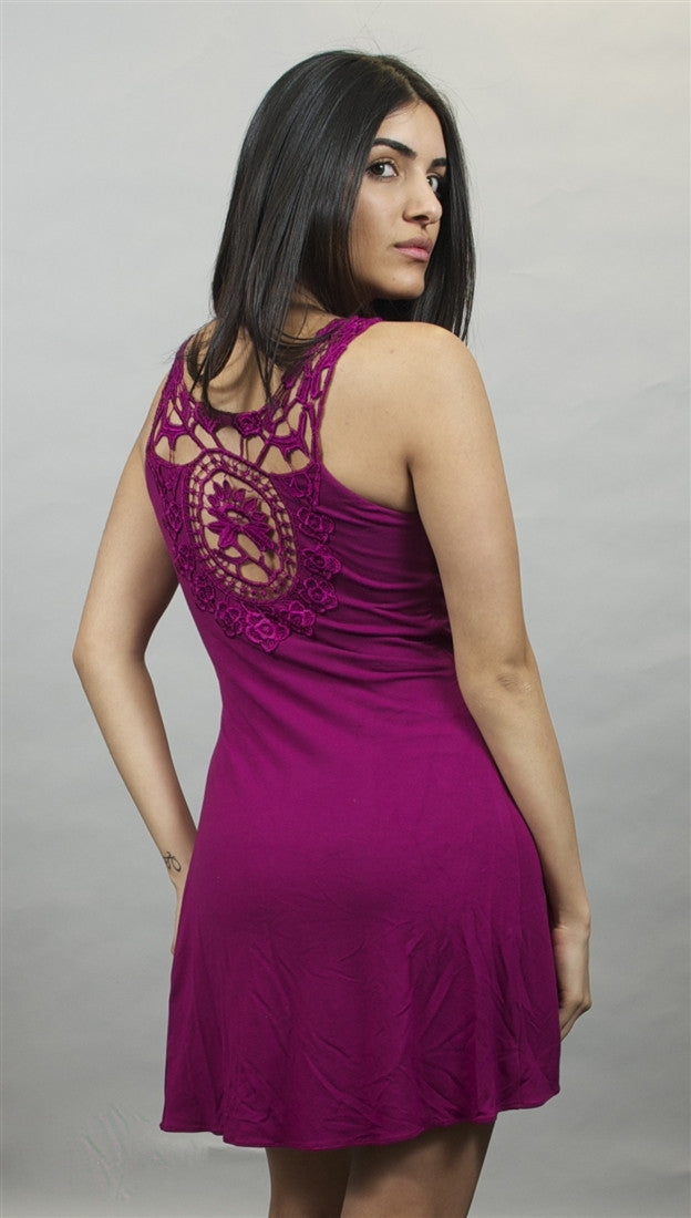 Sky Amethyst Simms Mini Dress with Floral Lace Design
